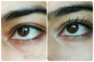 Loreal Paris Volume Million Lashes Excess Waterproof Mascara Review & Photos Before & After 1 coat application