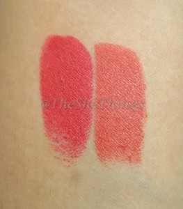 MAC Matte Lipstick in Chili : Review, Swatches & Photos Left : MAC Russian Red Right : MAC Chili