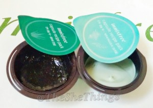 Innisfree Capsule Recipe Pack - Review & Photos Left : Aloe Right : Bija & Tea Tree